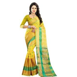 AJ TEX Yellow Cotton Silk Woven Sarees(CODE -ATRAGINI600-YELLOW)