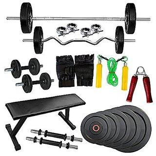 H-tagFitness 30 Kg Home Gym Set + Flat Bench + 5ft Bar + 3 ft Curl Bar with Spring Lock + More
