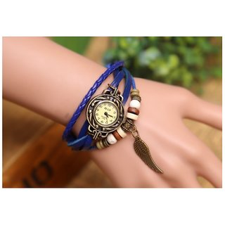 High Quality Women's Genuine Leather Retro Style Watch (DARK BLUE)