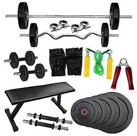 H-tagFitness 40 Kg home gym kit with flat bench + 5 ft Straight Bar + 3 ft Curl Bar  with Spring Locks + Pure Leather Gloves