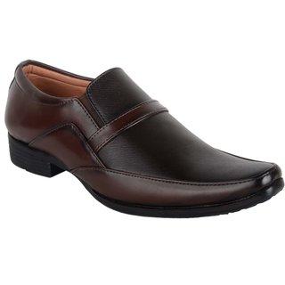 Ryko Mens Black Brown Formal Slip-on Shoes