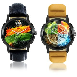 Indian Flag With 3D Round Art SCK Combo Gallery Wrist Watch