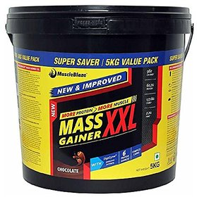 MuscleBlaze Mass Gainer XXl - 5 Kg (Chocolate) With Fre