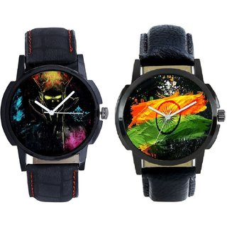 Indian Flag With Kanha Designer 3D SCK Combo Gallery Wrist Watch