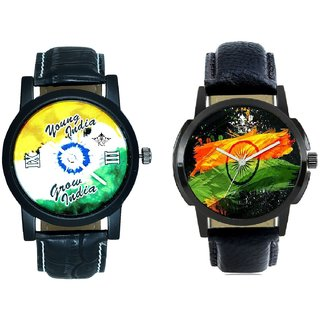 Indian Flag With Young India Grow India SCK Combo Gallery Wrist Watch