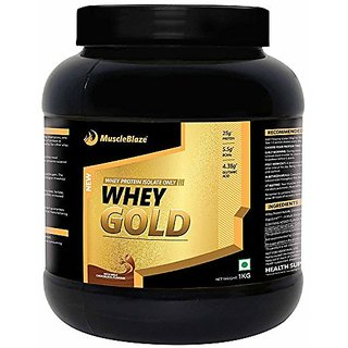 Muscleblaze Whey Gold 100% Whey Isolate Protein Supplement Powder 1 kg 33 Servings (Rich Milk Chocolate)