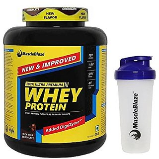 MuscleBlaze Whey Protein - 2 kg (Rich Milk Chocolate) with Free Shaker