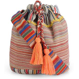The House of Tara Handloom Fabric Crossbody Shoulder Bucket Bag HTB 011