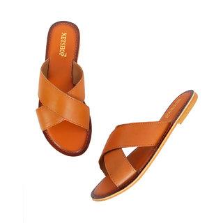 NETSHOP Women Tan coloured  Open Toe Flats