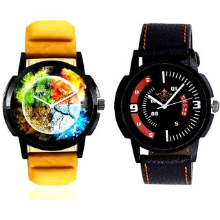 3D Round Art With Orange Smarty Sporty SCK Combo Gallery Wrist Watch