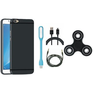 Lenovo K8 Note Silicon Slim Fit Back Cover with Spinner, USB LED Light, USB Cable and AUX Cable