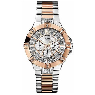 GUESS Women's U0024L1 Dazzling Silver & Rose-Gold-Tone Sport Watch