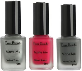 All Is Well - Matte Nail Polish (Pack Of 3 - Silver, Magenta  Grey