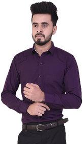Ziva Fashion Mens Solid Purple Poly Cotton Shirt