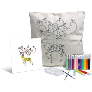 Baby Oodles Reindeer Design White DIY Cushion Cover