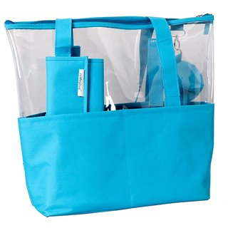 Baby Oodles Blue Plastic Diaper Bag With Mat