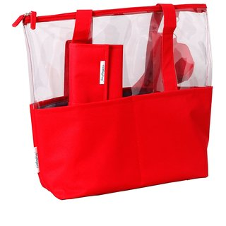 Baby Oodles Red Plastic Diaper Bag With Mat