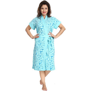 Be You Blue Floral Women's Bathrobe / Bath Gown