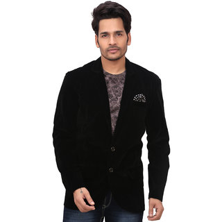 Garun Mens Party Wear Velvet Black Blazer