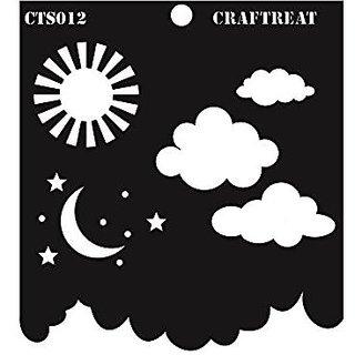 CrafTreat Clouds and Stars Stencil 6X6