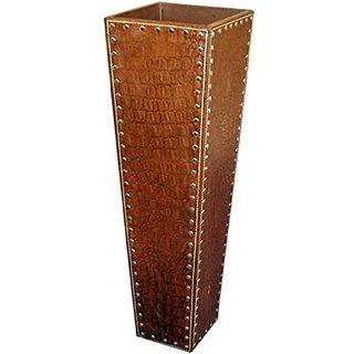 Flower Vase in 100% Genuine Leather Crocodile Print