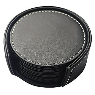 Artikle Leather Set of 6 Drink Leather Coasters with Holder- Square Black