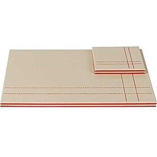 Artikle Cream and Red Leather Reversible Placemat & Coaster Set of 4 each