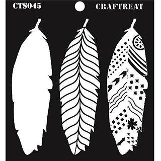 CrafTreat Layered Stencil  Feathers 6X6