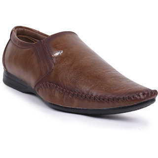 Foot N Style Brown Slip On Formal Shoes For Men's Fs317