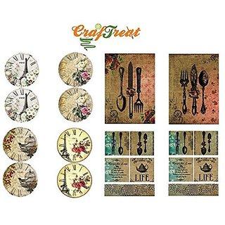 CrafTreat Decoupage A4 Paper - Clock amp Cutlery 8/Pkg