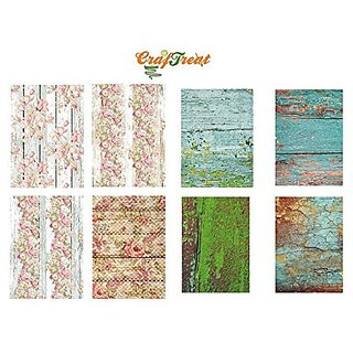 CrafTreat Decoupage A4 Paper - Wood Background 8/Pkg