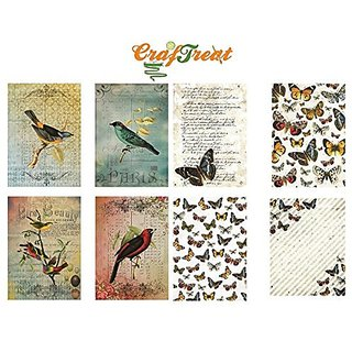 CrafTreat Decoupage A4 Paper - Birds amp Butterfly 8/Pkg