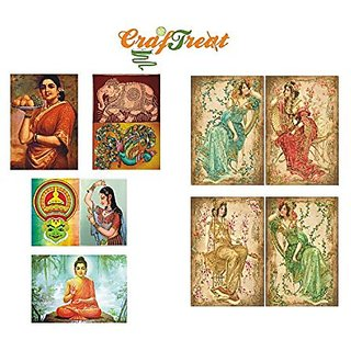 CrafTreat Decoupage A4 Paper - Paintings of India 8/Pkg