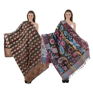 Christys Collection Womens Multicolor Block Print Woolen Shawl set of 2