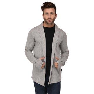 bc267e03b6d71 Buy Rigo Grey Melange Open Long Cardigan Full Sleeve Shrug For Men Online -  Get 64% Off