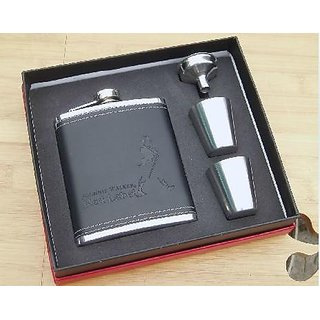 Stitched Leather And Stainless Steel Johnnie Walker Hip Flask Gift Set Box, 8 oz (230 ml)- Hip Flask With 2 Shot Glasses + Funnel