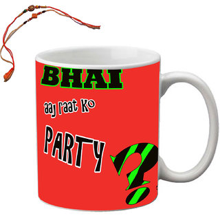 MeSleep Bhai Aaj To Party Red Raksha Bandhan Mug With Beautiful Rakhi'S