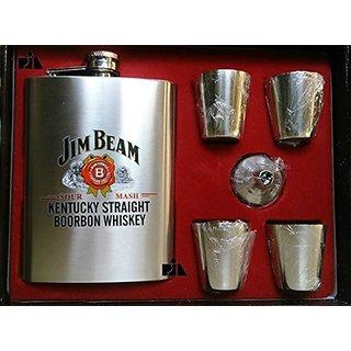 Jim Beam Hip Flask Gift Set (4 Shot Glasses  1 Funnel)