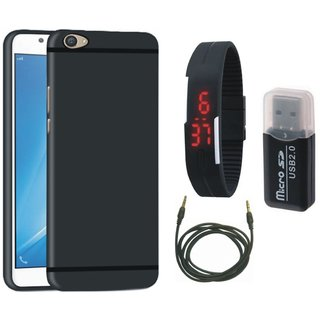 Samsung J7 Max Silicon Slim Fit Back Cover with Memory Card Reader, Digital Watch and AUX Cable