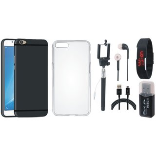 Vivo V7 Plus Silicon Slim Fit Back Cover with Memory Card Reader, Silicon Back Cover, Selfie Stick, Digtal Watch, Earphones and USB Cable