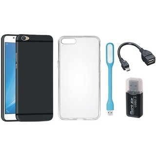 Samsung J7 Prime Soft Silicon Slim Fit Back Cover with Memory Card Reader, Silicon Back Cover, USB LED Light and OTG Cable