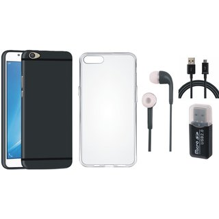 Vivo V7 Plus Silicon Slim Fit Back Cover with Memory Card Reader, Silicon Back Cover, Earphones and USB Cable