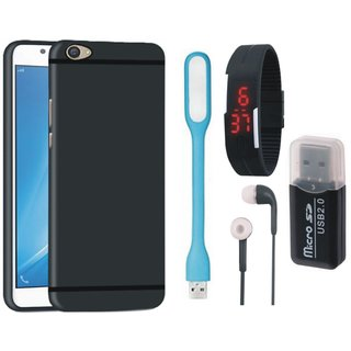Samsung J7 Prime Soft Silicon Slim Fit Back Cover with Memory Card Reader, Digital Watch, Earphones and USB LED Light