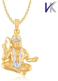 V. K Jewels LORD HANUMAN Pendant gold and Rhodium plated -  PS1011G