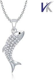 V. K Jewels Fish Design Rhodium plated pendant -  PS1051R