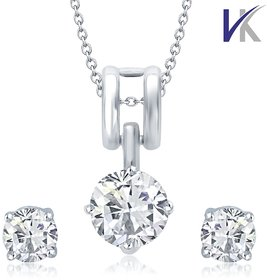 V. K Jewels Rodhium Plated Solitaire Pendant set with Earrings -  PS1016R