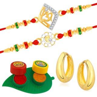 VK Jewels Gold and Rhodium Plated Alloy CZ American Diamond Rakhi Combo for Men [VKRAKHI1301G]
