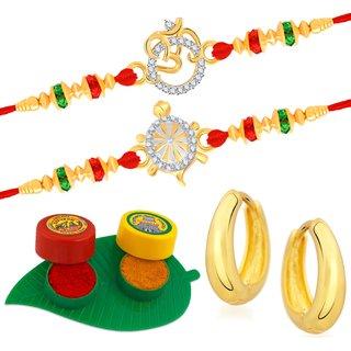 VK Jewels Gold and Rhodium Plated Alloy CZ American Diamond Rakhi Combo for Men [VKRAKHI1302G]
