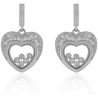 Joal Glass Collection White 925 Sterling Silver Cubic Zirconia Earrings For Women