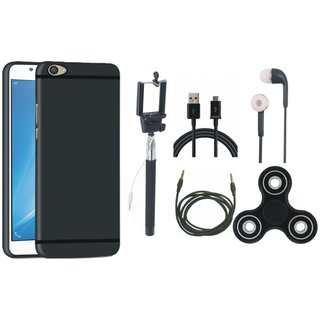 Vivo V7 Plus Soft Silicon Slim Fit Back Cover with Spinner, Selfie Stick, Earphones, USB Cable and AUX Cable